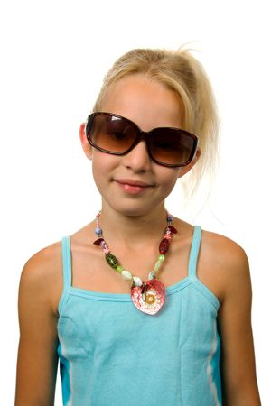 blinkers: Young blonde summer girl with big sunglasses isolated on white background