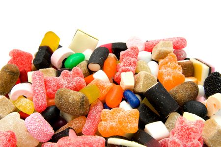 Colorfull candy sweets isolated on white background