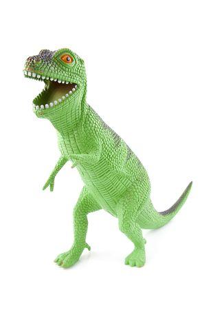 prehistoria: verde Juguete de dinosaurio aisladas sobre fondo blanco