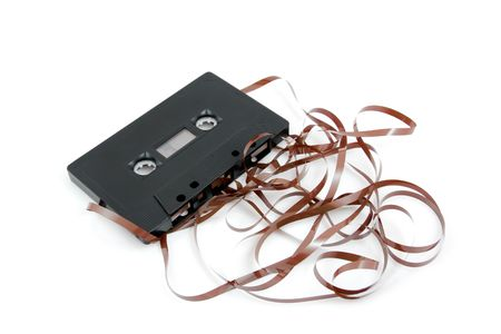 Messed up audio cassette tape isolated on white background Stock Photo - 5539709