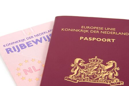 drivers license: Dutch documentation, passport and drivers license, isolated on white background