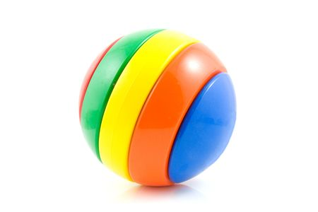plastic toys: Colorful play ball isolated on white background