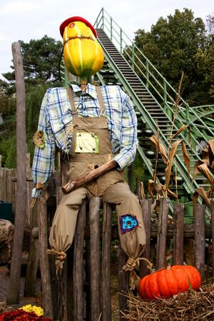 bugaboo: Happy Halloween scarecrow outdoors Stock Photo