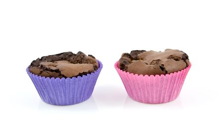 Home baked brownie cupcakes isolated on white background photo
