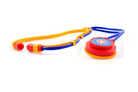 ilness: plastic stethoscope for children isolated on white background