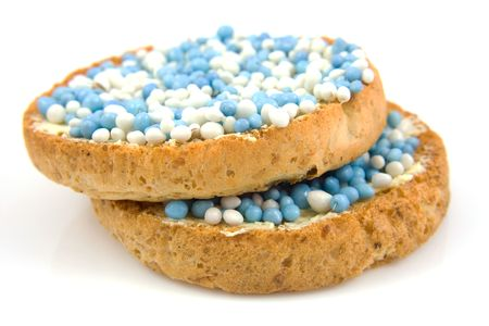 its a boy: Rusk with blue and white mice, its a boy! Stock Photo