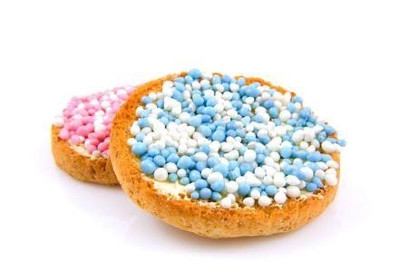 biscotte: Rusk avec souris bleues et roses sur fond blanc
