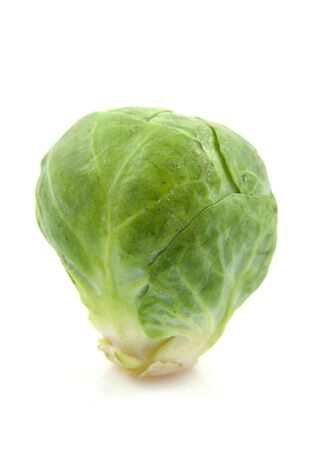 brussels sprouts: One fresh Brussels sprouts isolated on white background Stock Photo
