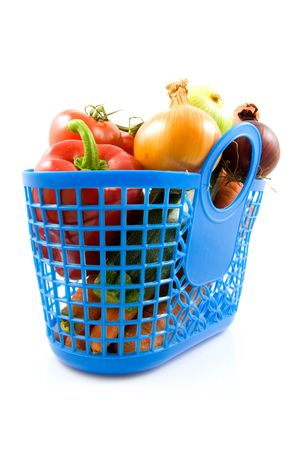 Blue plastic shopping bag with grocery over white background Stock Photo - 5922314