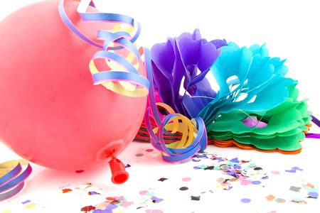 balloon and party streamers for birthday over white background photo