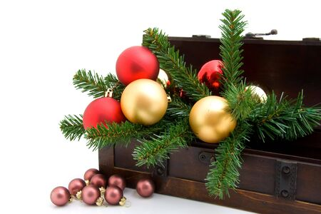 wooden box with christmas decoration over white background Stock Photo - 6045882