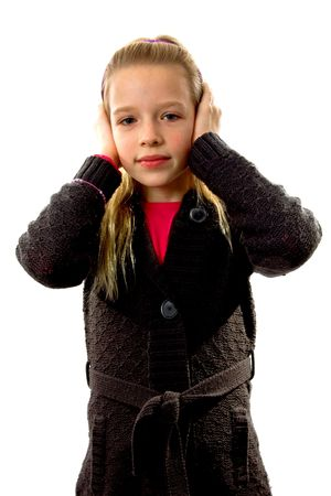 Blonde young girl covers her ears: Hear no evil, isolated on white background Stock Photo - 6037993