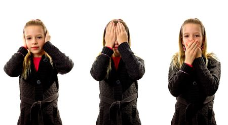 Young blonde girl: hear no evil, see no evil and speak no evil, over white background