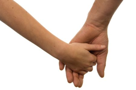 Father and daughter holding hands over white background