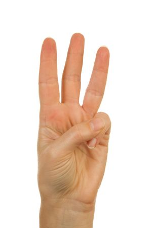 Woman's hand counting number 3 over white background Stock Photo - 6085761
