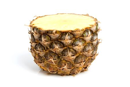 half cut: Half cut pineapple isolated on white background