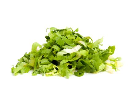 endive: Pile of fresh cut endive over white background Stock Photo