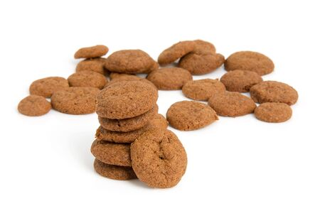 pepernoten: Home baked pepernoten cookies ( typical Dutch ) over white background