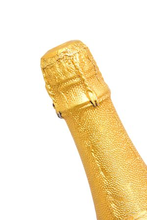 over packed: Neck of closed champagne bottle packed in golden paper over white background