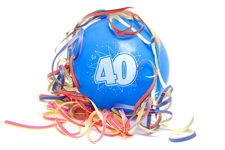 Blue birthday balloon for someone who is 40 years old with party streamers over white background Stock Photo