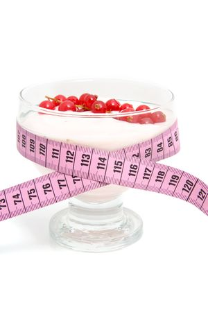 glass bowl with yogurt,berrie fruit and measure tape for dieting over white background Stock Photo - 6354207