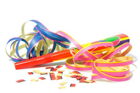 Party horn with streamers over white background Stock Photo - 6354179