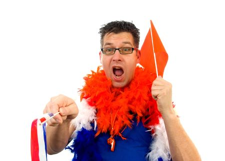 Man is posing in orange outfit for soccer game and screams goal over white background photo