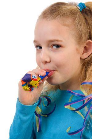 noisemaker: Birthday girl with noisemaker over white background Stock Photo