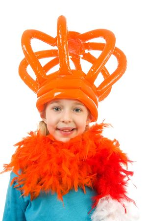 Girl is posing in orange outfit with crown: ready for Dutch soccer game or Queensday over white background Stock Photo - 6475525