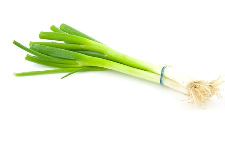 spring onion: Bunch of fresh spring onions isolated on white background Stock Photo