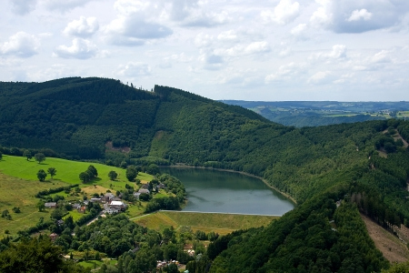 belgium: Landscape of Coo, Belgium with mountains and lake