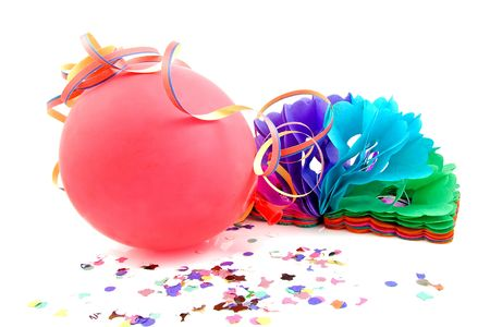 Balloon and party streamers for birthday isolated on white background photo
