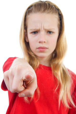 Angry girl is pointing at you, finger closeup, girl in blur over white background Stock Photo - 6550431