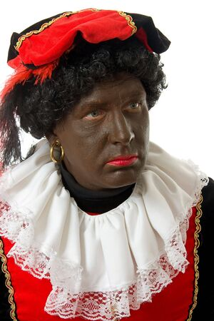 nicolaas: Zwarte piet ( black pete) typical Dutch character part of a traditional event celebrating the birthday of  Sinterklaas in december over white background
