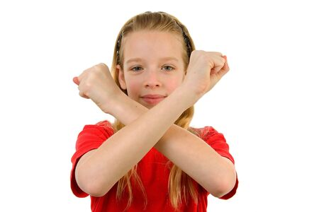 Young blonde girl is making X sign with her arms, over white background Stock Photo - 6607393