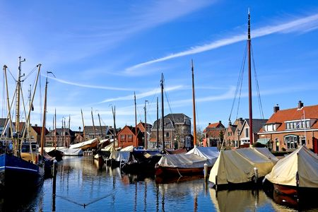 Harbor at BunschotenSpakenburg in the Netherlands on sunny day