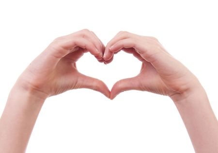 heart shape with hands: kids hands in shape of heart over white background