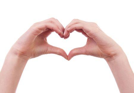 corazon en la mano: ni�os manos en forma de coraz�n sobre fondo blanco