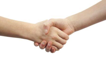 Two kids make handshake over white background Stock Photo