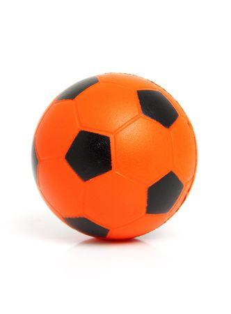 Orange soccer ball isolated on white background photo