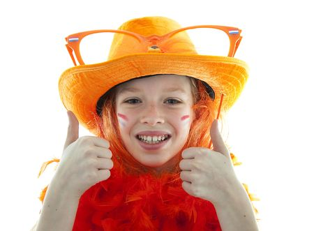 Happy soccer supporter: young blonde girl in orange outfit with thumbs up Stock Photo - 6735675