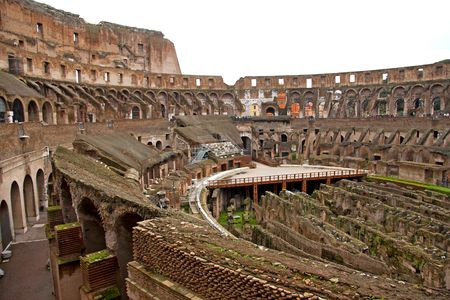 Inside view of the colosseum in Rome, Italy photo