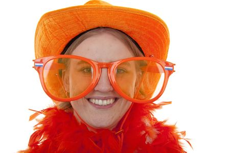 portrait of a soccer supporter with big orange glasses over white background photo