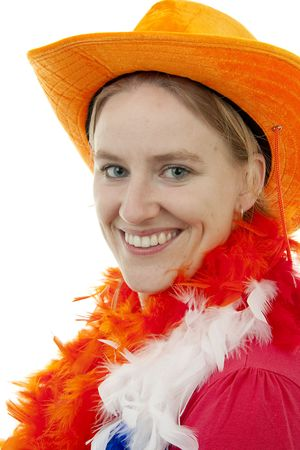 Portrait of Dutch soccer fan in closeup over white background Stock Photo - 6839627