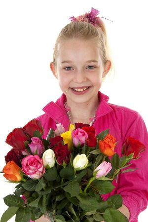 Young blonde girl with colorful bouquet of roses for mothers day over white background photo