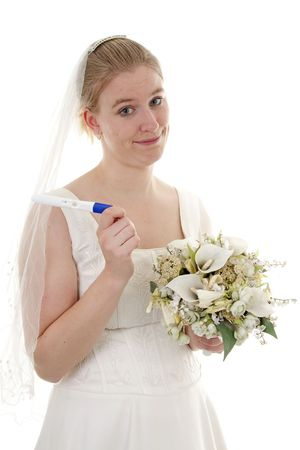 Woman gets married because she is pregnant, over white background photo