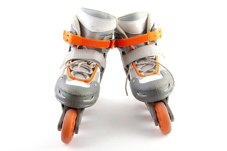 rollerskater: Pair of roller skates isolated on white background