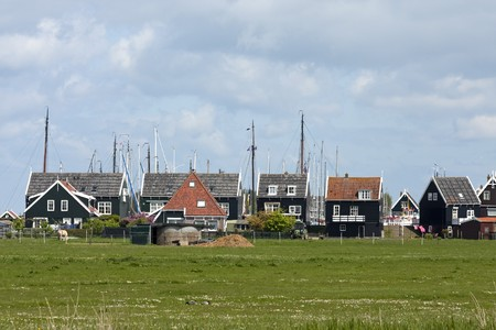 view over typical Dutch houses in the village Marken Stock Photo - 6996425