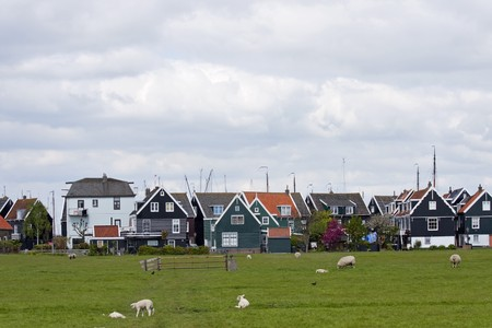 marken: view over typical Dutch houses in the village Marken Stock Photo