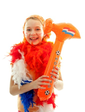 blow up: Girl posing with blow up orange hammer for Dutch soccer game over white background Stock Photo